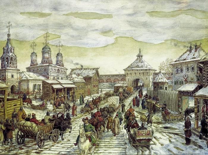 А.М. Васнецов «У Мясницких ворот Белого города в XVII веке», 1926 © Музей Москвы