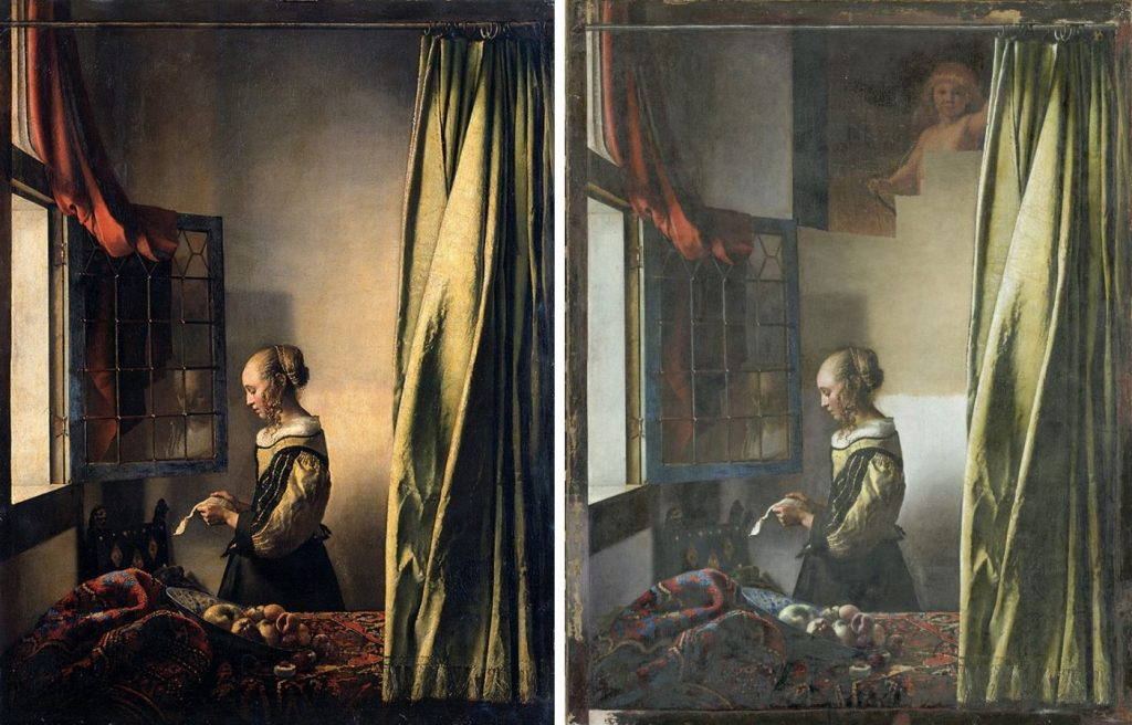 Слева — до реставрации, справа — в процессе реставрации: Johannes Vermeer «Girl Reading a Letter at an Open Window», 1659 © Dresden Old Masters Picture Gallery