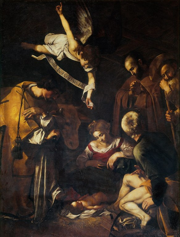 Караваджо «Рождество со святым Лаврентием и святым Франциском», 1609 © Wikimedia Commons
