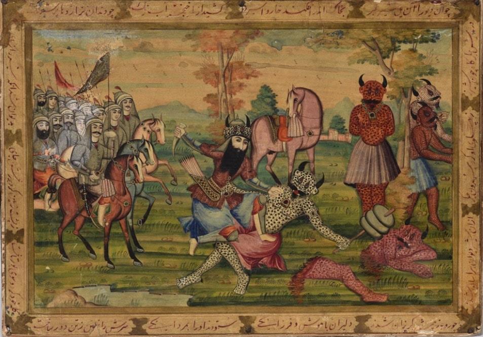 «Битва Рустама с Белым дивом». Иран, XIX в. Картон, бумага, живопись, лак © ГМВ