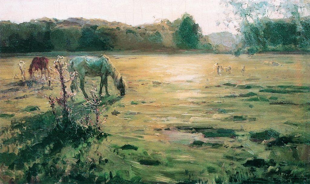Клодт Н. А. «Лошади на лугу», сер. 1890-х — нач. 1900-х © ГРМ