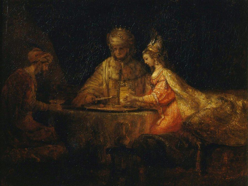 Рембрандт Харменс ван Рейн «Артаксерикс, Аман и Эсфирь», 1660 (ГМИИ им. А.С.Пушкина)