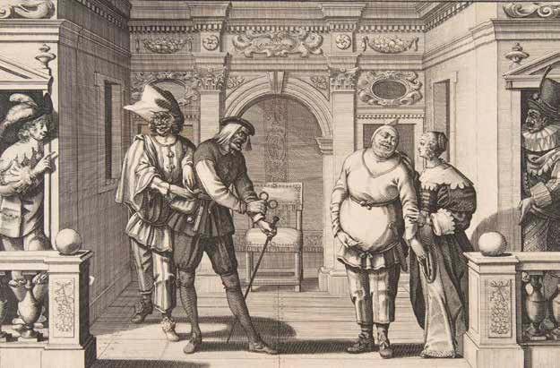 Абрахама Босса «Французские актеры в Бургундском отеле», около 1630. Гравюра. На сцене — Тюрлюпен, Готье-Гаргий и Гро-Гийом. Комедианты, имеющие показательное сходство с Арлекином, Панталоне и Педролино (или Пульчинеллой), вероятно, разыгрывают спектакль по сценарию комедии дель арте. На нескольких сохранившихся театральных эскизах для постановок в Бургундском отеле можно увидеть задник с симметричным архитектурным построением и небольшой балюстрадой © Ad Marginem