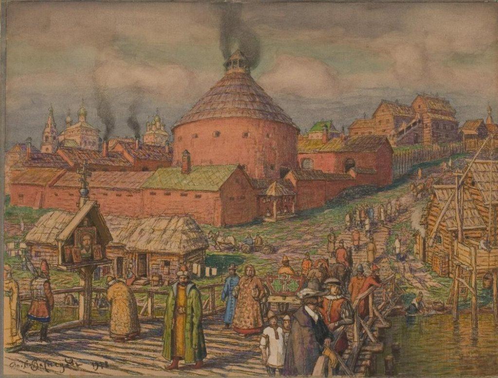 А.М. Васнецов «Пушечно-литейный двор на реке Неглинной в XVII веке», 1918 © Музей Москвы