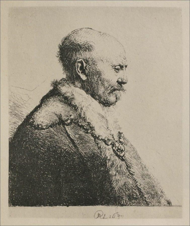 Рембрандт Харменс ван Рейн «Лысый человек в профиль» («Отец художника»?), 1630. Офорт. Национальный музей, Амстердам © Ad Marginem