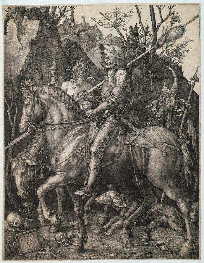 Альбрехт Дюрер «Рыцарь, Смерть и дьявол». Германия, Нюрнберг, 1513 Пинакотека Тозио Мартиненго © ГИМ