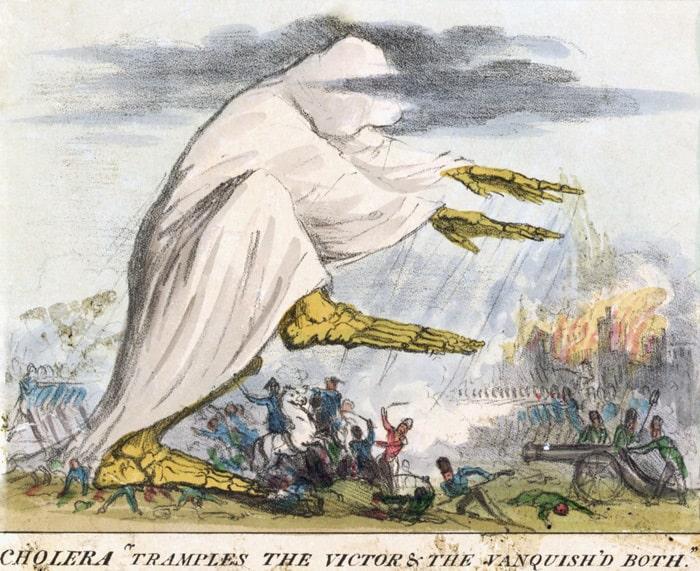 Роберт Сеймур «Холера попирает и победителей, и побежденных», 1831. Литография © Национальная медицинская библиотека США, Бетесда