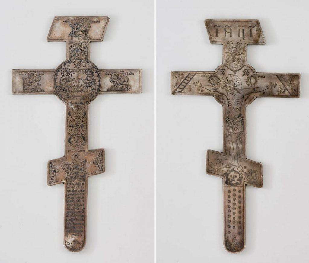 Крест напрестольный. Москва, 1679. Серебро, чернение, резьба © Отдел драгметаллов, ГИМ