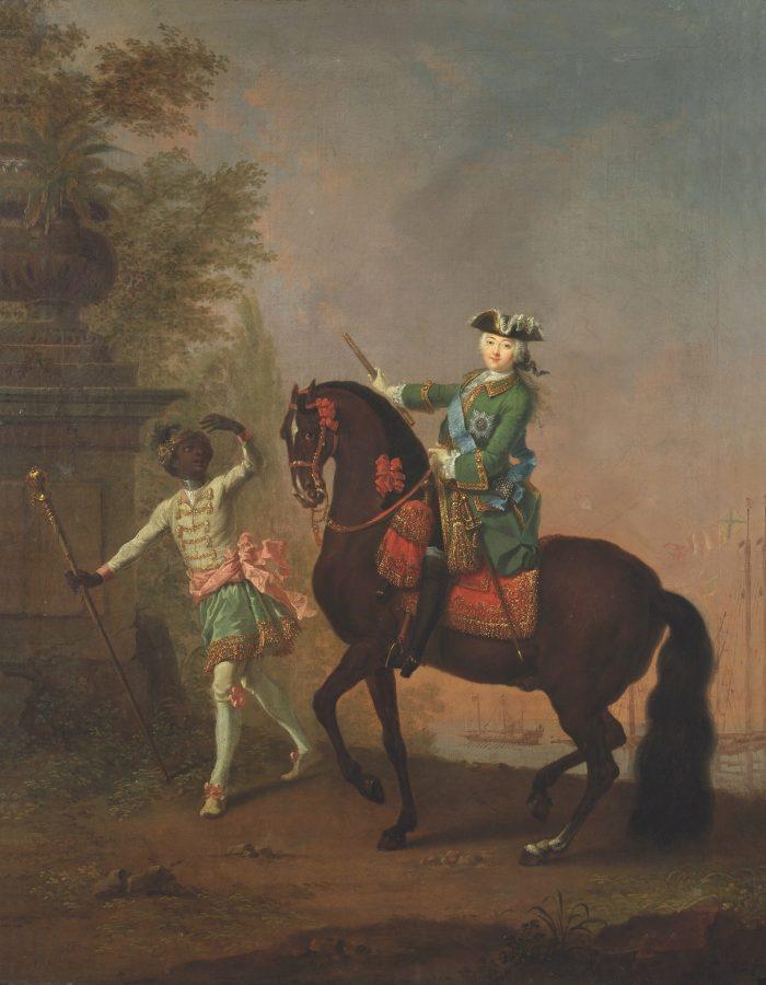 Гроот Георг Христоф «Портрет Елизаветы Петровны на коне с арапчонком», 1743 ГТГ