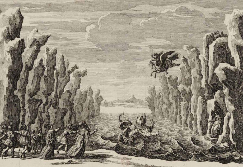Декорация Джакомо Торелли к феерии Корнеля «Андромеда». Непременным условием при заказе пьесы драматургу (поставлена в театре «Пти-Бурбон» в 1649 году) было использование спецэффектов, которые производились с помощью машинерии, привезенной Торелли из Италии. В небе изображен Персей, спускающийся на крылатом коне, чтобы сразиться с морским чудищем, которое хочет сожрать Андромеду, прикованную к скале © Ad Marginem