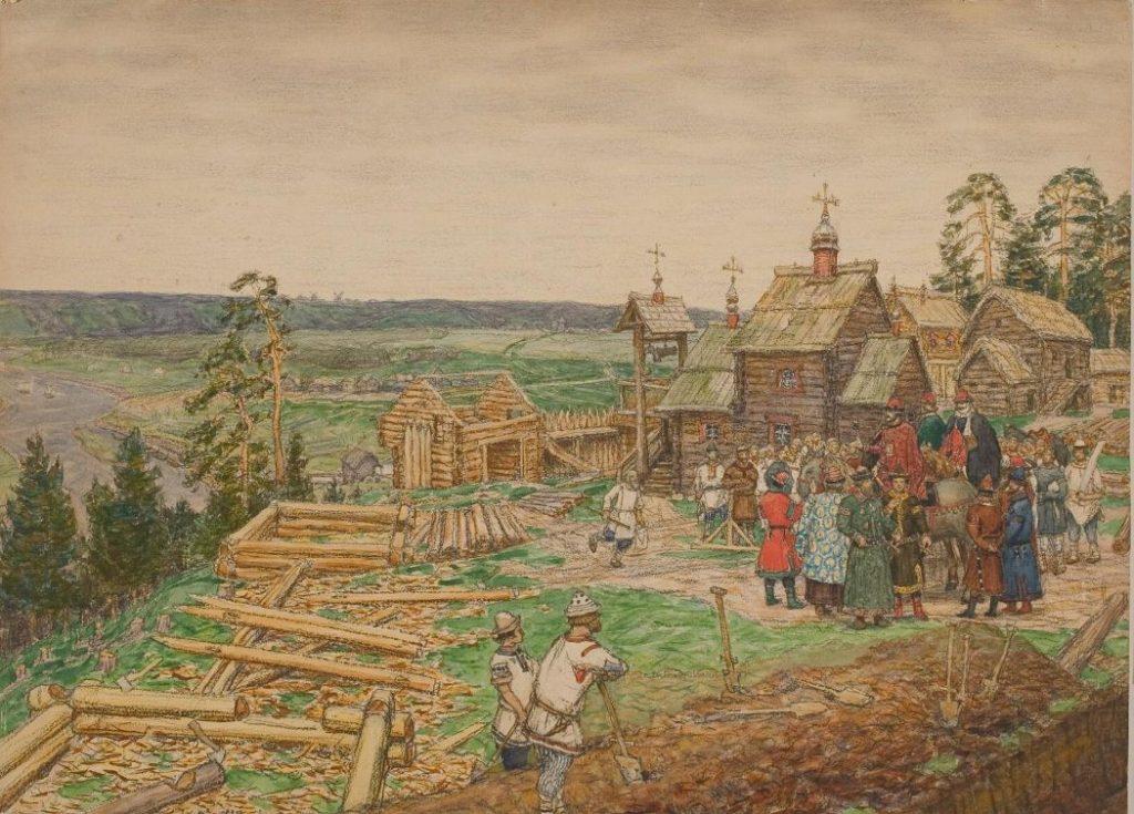 А.М. Васнецов «Основание Москвы. Постройка первых стен Кремля Юрием Долгоруким в 1156 году», 1917 © Музей Москвы