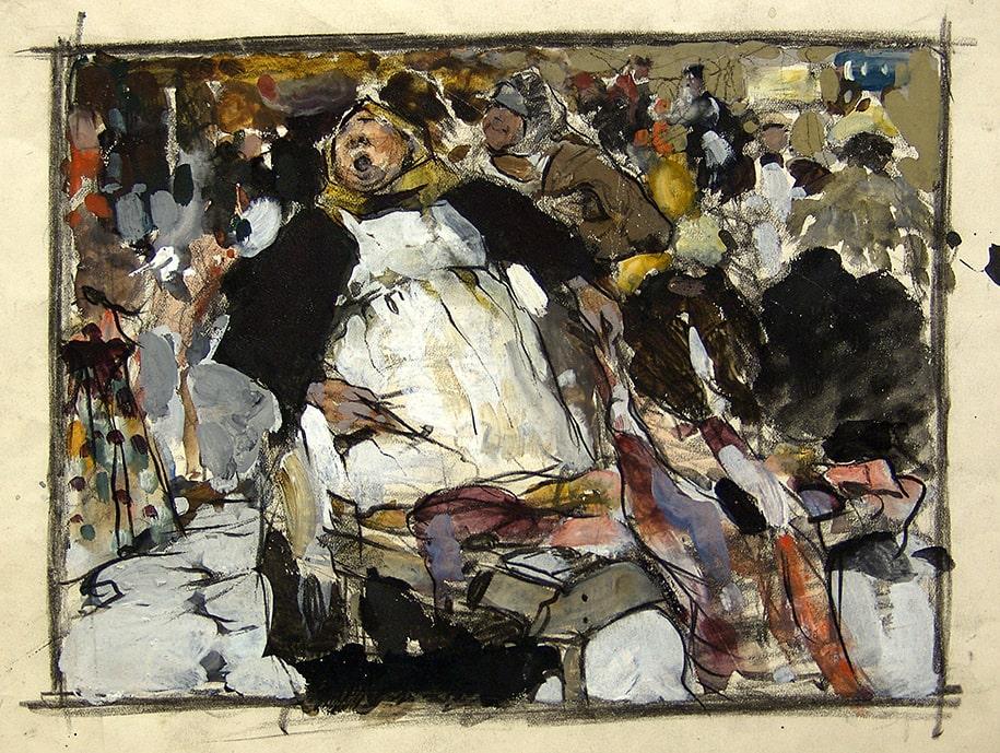 Н.И. Фешин «На рынке», вторая половина 1900-х. Эскиз © Государственный музей изобразительных искусств Республики Татарстан