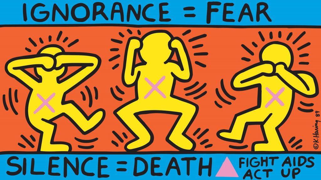 Кит Харинга «Молчание=смерть», 1989