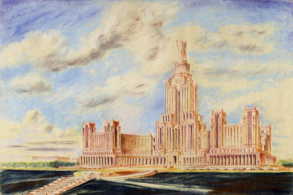 Б.М. Иофан «Дворец Советов. Утвержденный проект. Перспектива», 1931. Год реставрации: 2008 © МУАР
