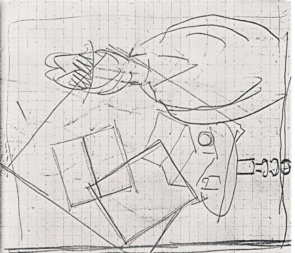 Иван Пуни «Мужчина в шляпе у столика». Набросок из альбома середины 1910-х © Искусство — XXI век