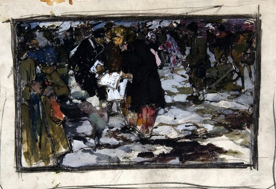 Н.И. Фешин «Читают газету», середина 1900-х. Эскиз © Государственный музей изобразительных искусств Республики Татарстан