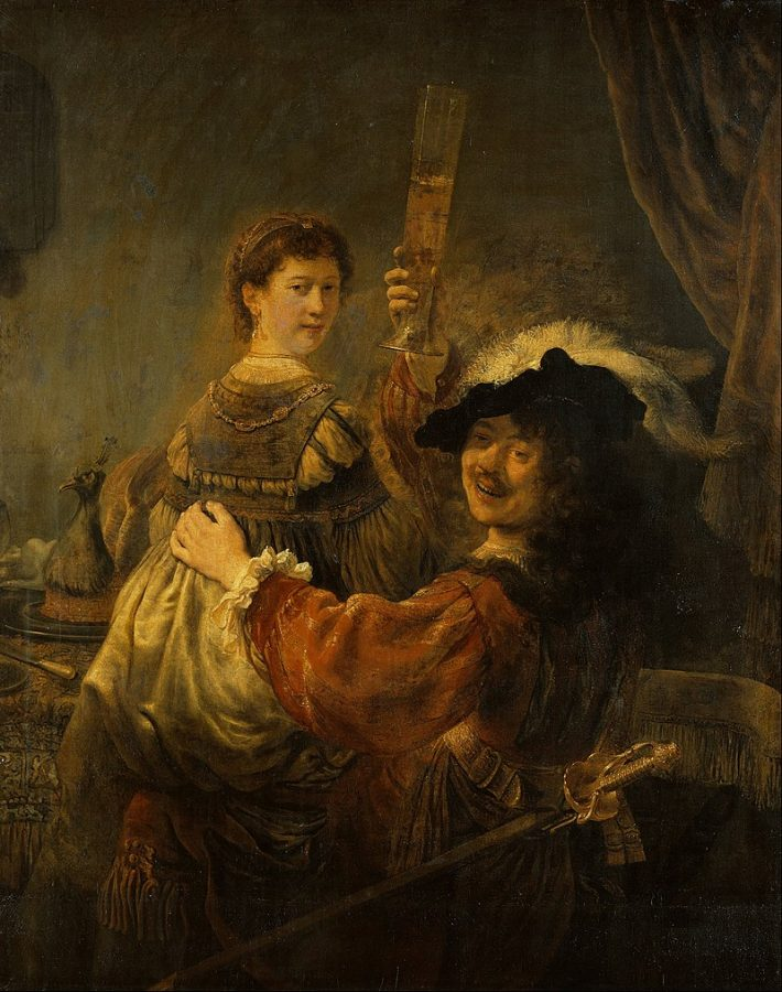 Рембрандт Харменс ван Рейн «Блудный сын в таверне» («Автопортрет с Саскией на коленях», 1635 (Галерея старых мастеров, Дрезден)