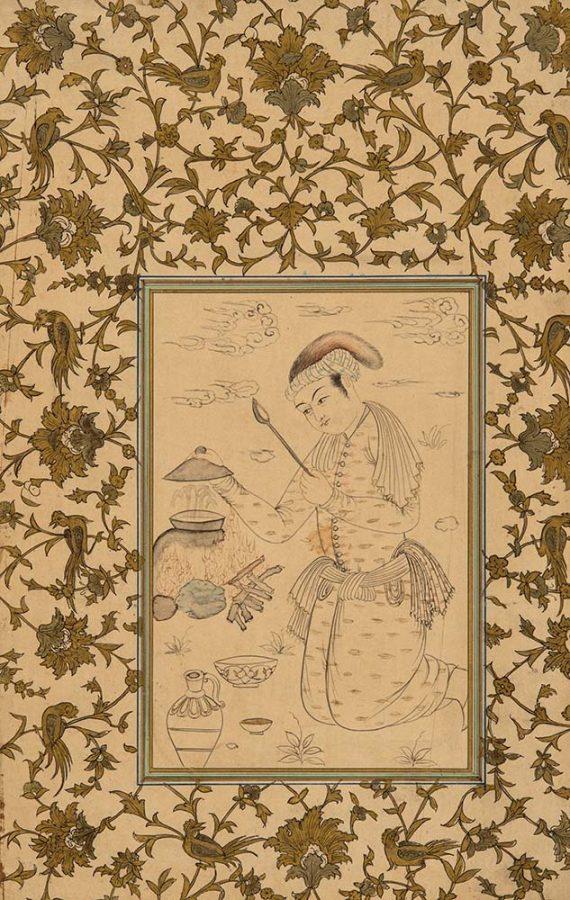 Миниатюра «Юноша за приготовлением пищи» Иран, XIX в. Бумага, тушь, белила, золочение © ГМВ