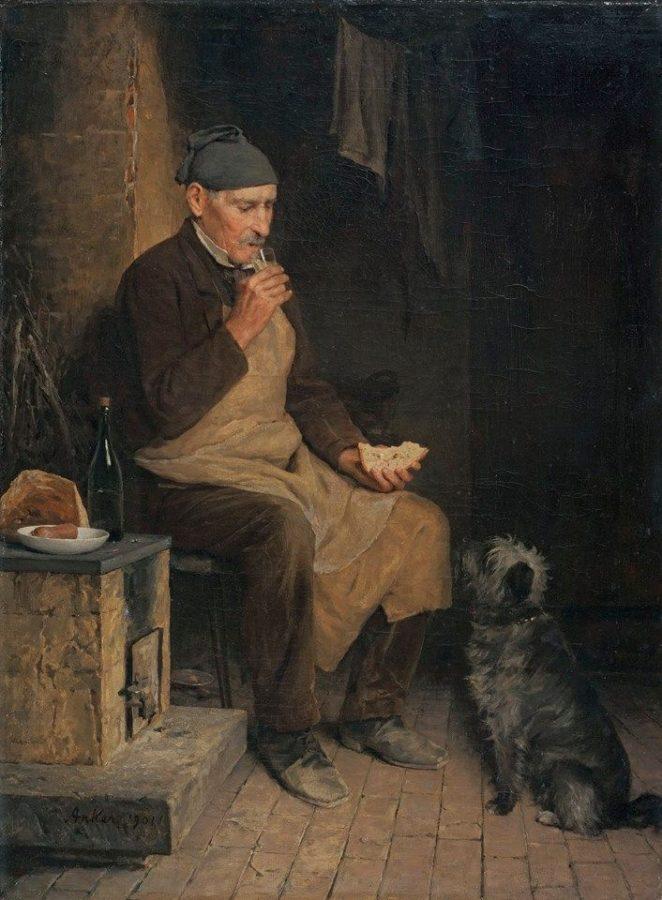 Альберт Анкер «Старик отдыхает», 1901 Частная коллекция