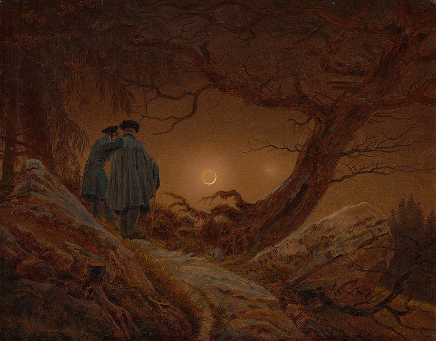 Каспар Давид Фридрих «Двое мужчин, созерцающих луну», 1819–1820 © Альбертинум, Дрезден