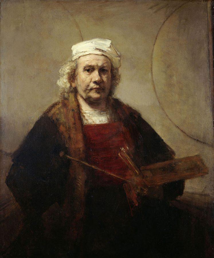 Рембрандт Харменс ван Рейн «Автопортрет с двумя кругами», 1665-1669 (Кенвуд-хаус, Лондон)