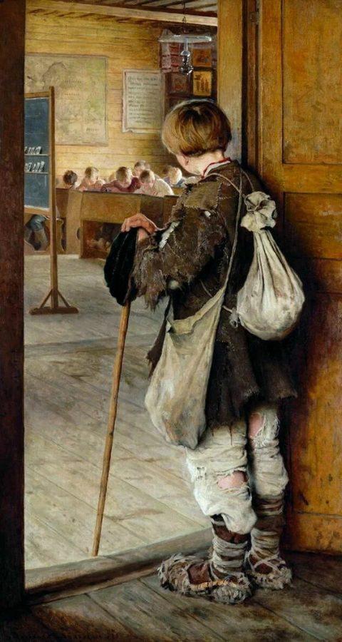 Н.П. Богданов-Бельский «У дверей школы», 1897 © Государственный Русский музей