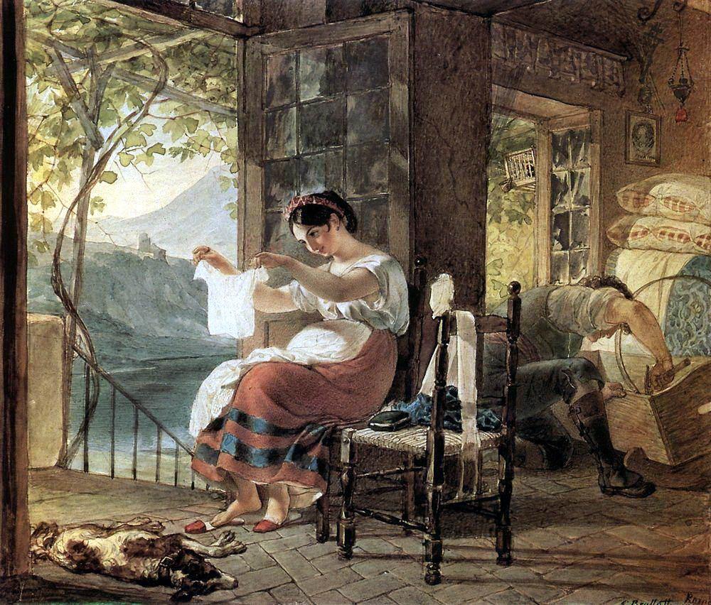 К.П. Брюллов «Итальянка, ожидающая ребенка, разглядывает рубашку, муж сколачивает колыбель», 1831 © ГРМ
