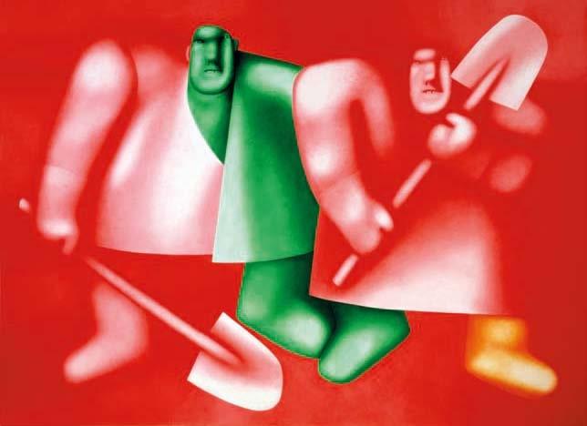 Олег Целков «Двое с лопатами», 2000 Дар Ф. Р. Комарова, 2004 © ГРМ
