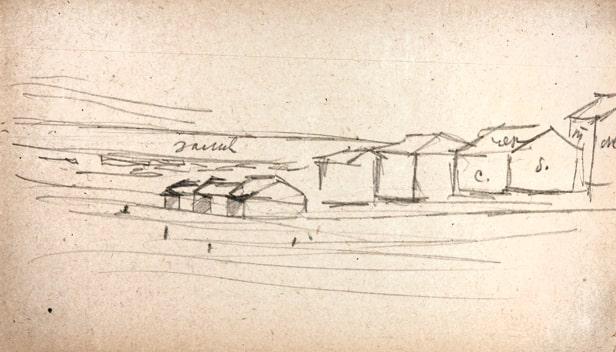 А.А. Дейнека «Постройки у залива». Лист 17 © ДГ