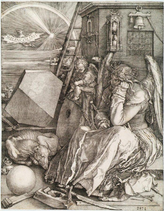 Альбрехт Дюрер «Меланхолия (Меланхолия I)», 1514. Германия, Нюрнберг. Бумага без водяных знаков; гравюра резцом. Пинакотека Тозио Мартиненго
