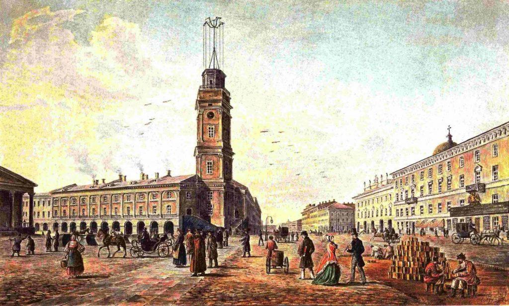 Невский проспект и здание городской Думы. Гравюра XIX века