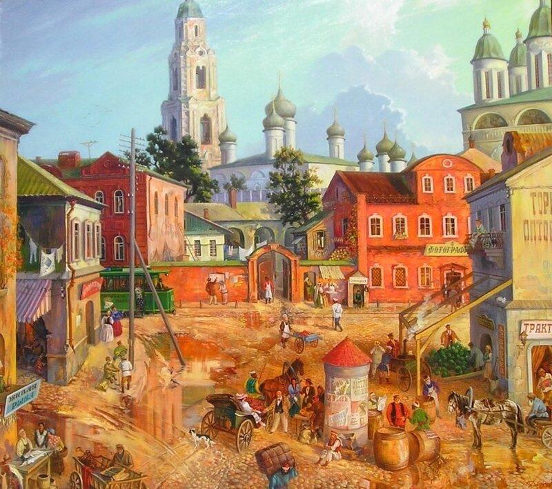Сергей Дьяков «Старая Астрахань с видом на Кремль. Начало ХХ века»