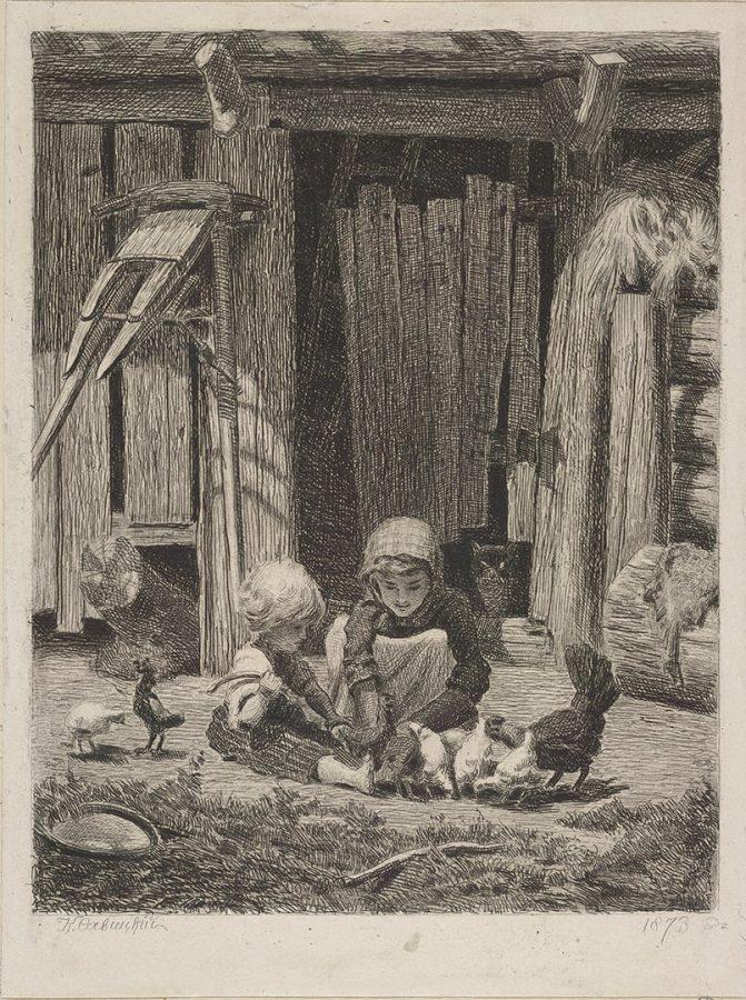 К.А. Савицкий «Дети с курами». С собственного оригинала, 1872-1873. Бумага; офорт © Государственный Эрмитаж
