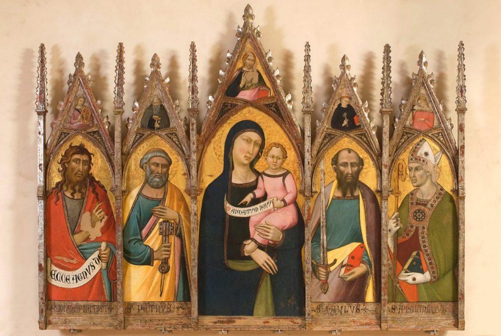 Лука ди Томмè Полиптих «Мадонна с младенцем и святыми», 1370-1380. Дерево, темпера © Государственный Эрмитаж