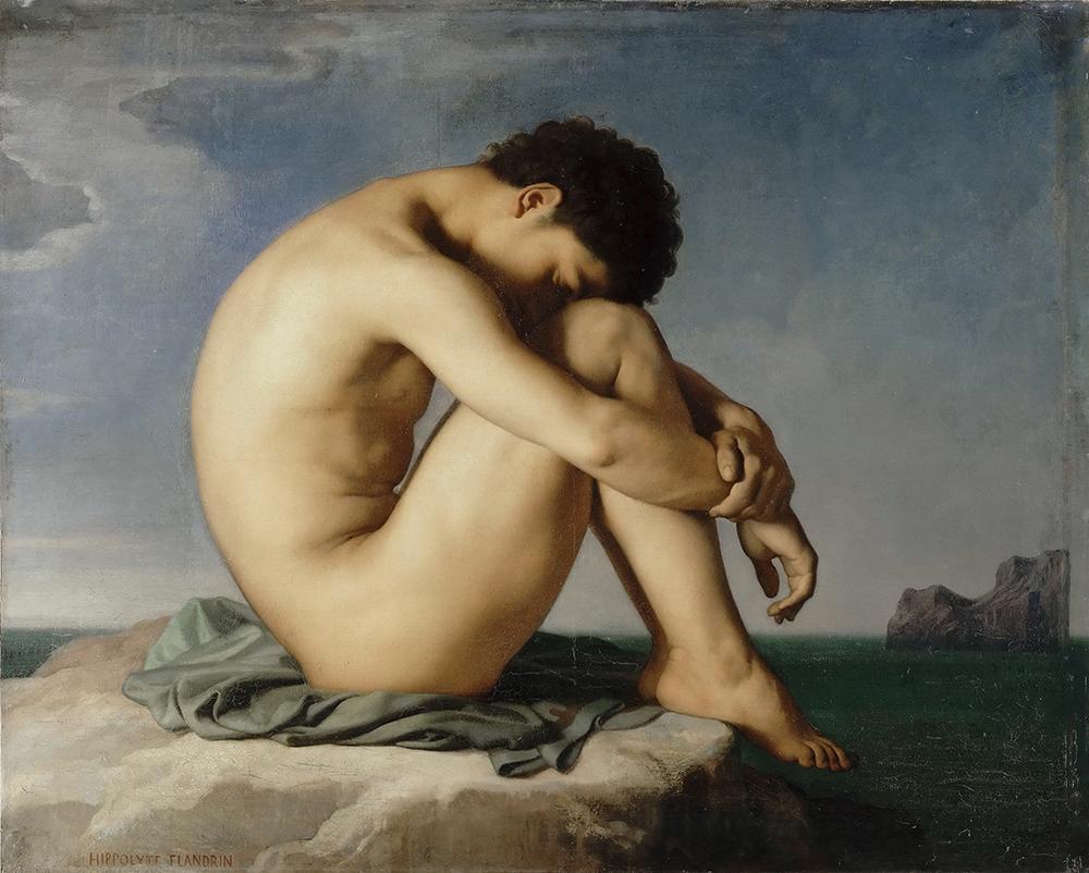 Ипполита Фландрена «Сидящий обнажённый юноша на берегу моря» (1855) из собрания Лувра