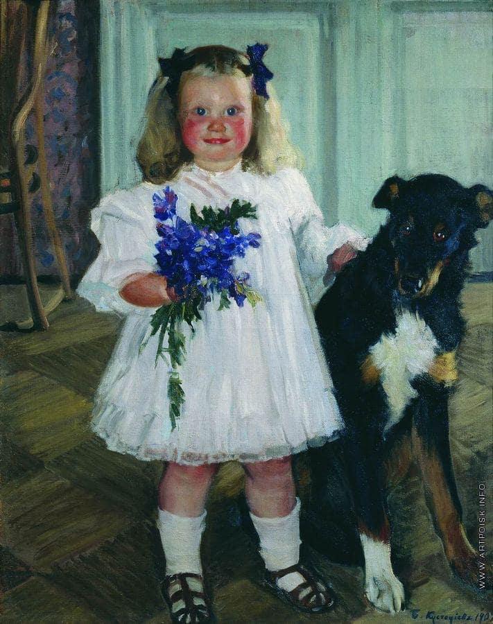 Б.М. Кустодиев «Портрет Ирины Кустодиевой с собакой Шумкой», 1907