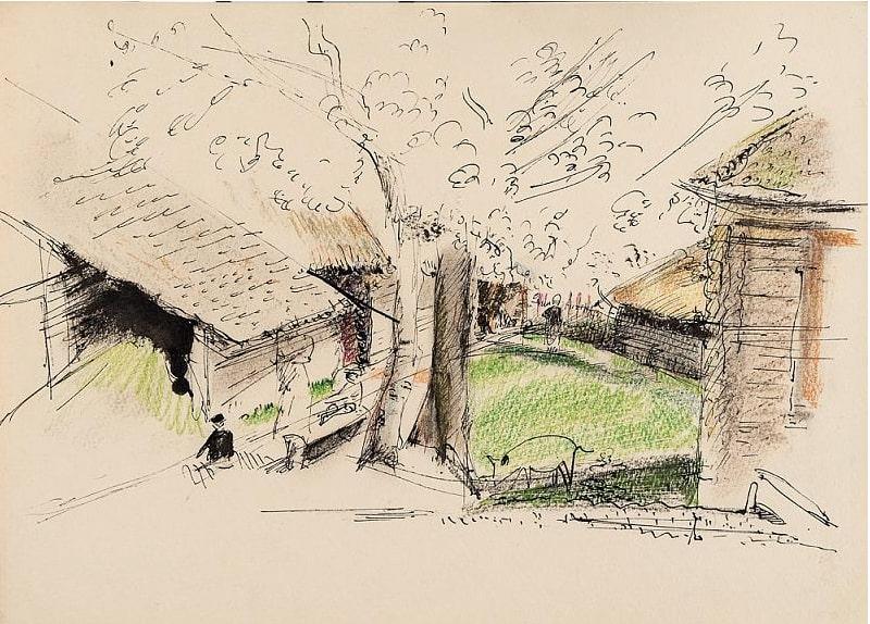 Л.А. Юдин «Миробудицы (Валдай). Сараи и деревья», 1938