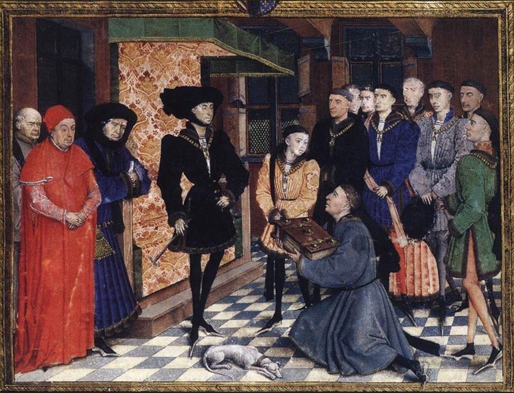 Жан Воклен преподносит «Хроники Эно» Филиппу Доброму. Миниатюра Рогира ван дер Вейдена, 1447 год © KBR