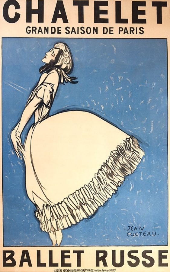 Жан Кокто. Плакат с изображением Т. П. Карсавиной в балете «Видение розы» на музыку К. М. Вебера. Антреприза С. П. Дягилева. Франция. Париж, 1911 © theatremuseum.ru
