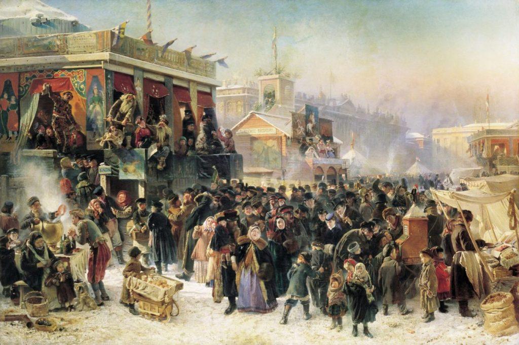 Константин Маковский «Народное гулянье во время масленицы на Адмиралтейской площади в Петербурге», 1869 © ГРМ