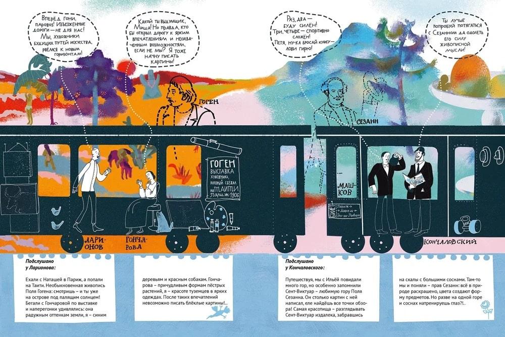 Разворот книги «Мчится поезд Авангард» © Издательство «Арка»