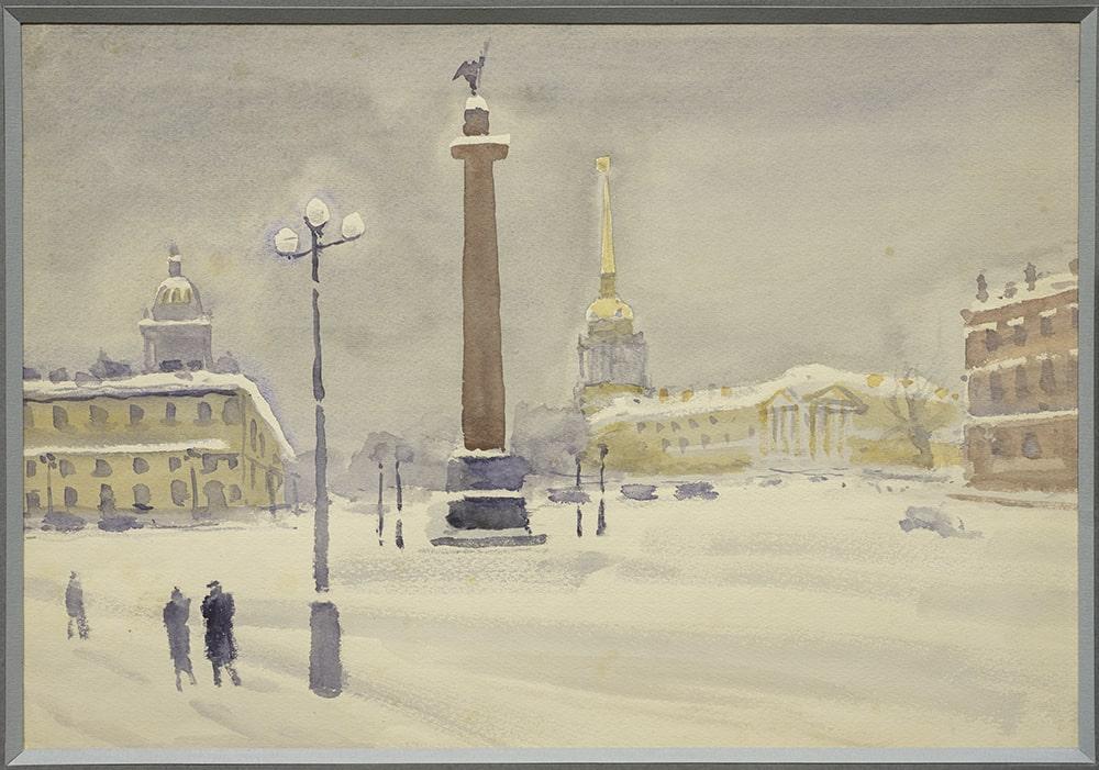 Н.Ф. Лапшин «Пейзаж с Александровской колонной», 1939 © МИСП