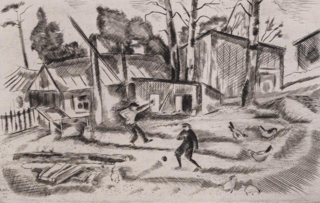 Лев Юдин «Игра в футбол», 1940. Сухая игла © ГРМ