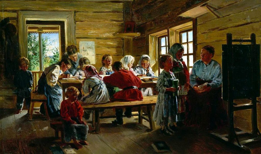 В.Е. Маковский «В сельской школе», 1883 © Тульский музей изобразительного искусства