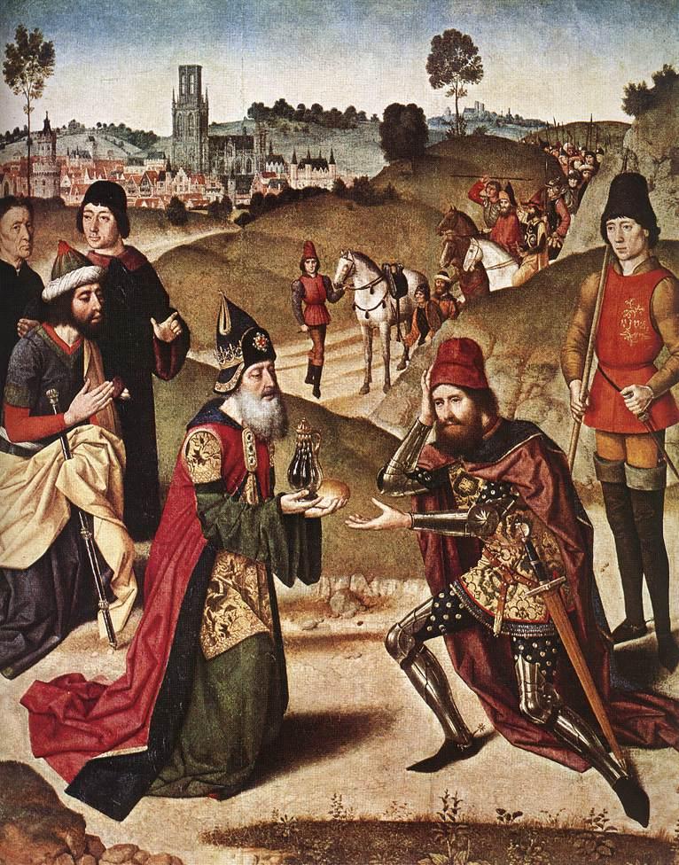 Дирк Баутс «Встреча Авраама и Мельхиседека», 1464–1467. Левая створка алтаря «Таинство Святого причастия». Церковь Св. Петра, Лёвен (Бельгия) © leuvenbyair