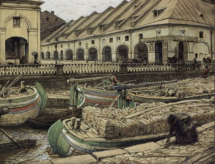 Е.Е. Лансере «Никольский рынок в Петербурге», 1901 © ГТГ