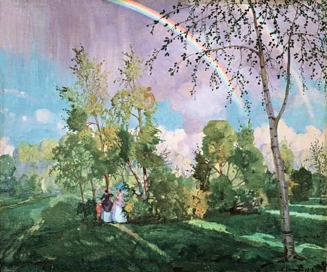 К. А. Сомов «Пейзаж с радугой», 1919. Из собрания С.Н. Валка, ныне — в собрании KGallery, Санкт-Петербург © МРИ