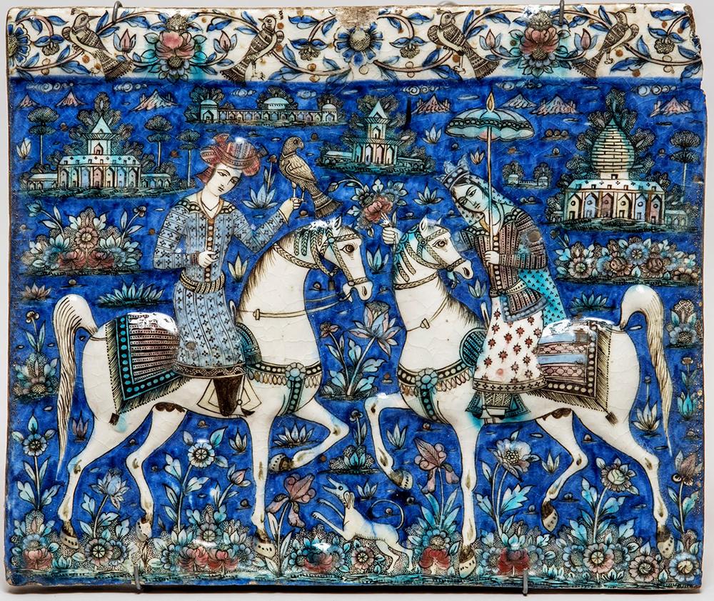 Неизвестный мастер «Конная прогулка», Изразец. Иран, XIX век
