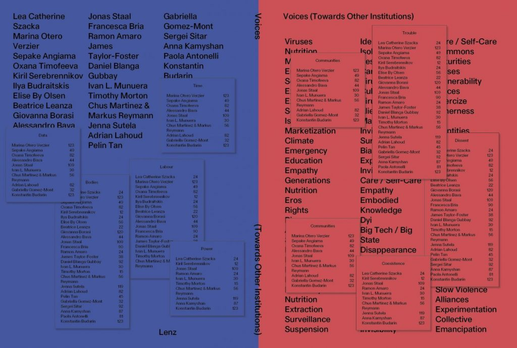 Обложка сборника «Голоса: навстречу другим институтам», 2021 © Lorenzo Mason Studio