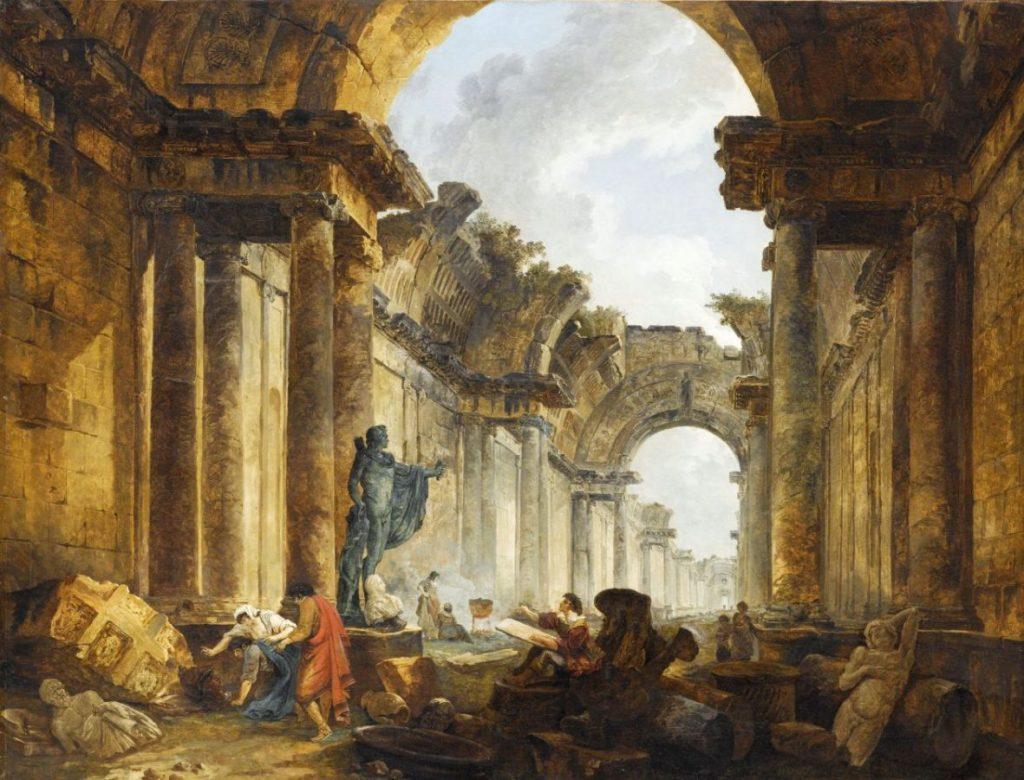 Юбер Робер «Воображаемый вид Большой галереи Лувра в руинах», 1796 Musée du Louvre